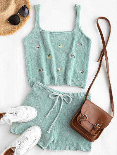 Chenille Embroidered Square Neck Two Piece Shorts Set - Light Green