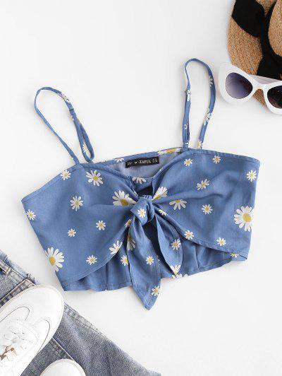 ZAFUL Gebundenes Daisy Blumen Chambray Crop Cami Top - Blau M