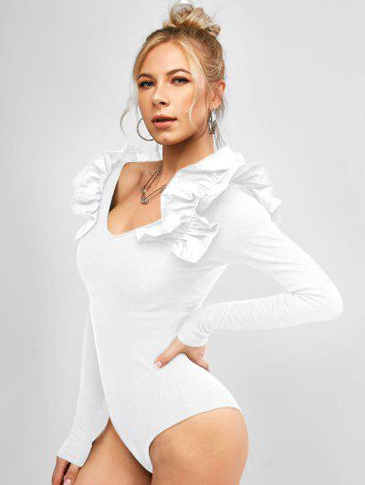 Long Sleeve Ruffles V Neck Ribbed Bodysuit - White M