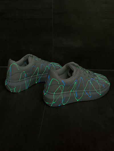 Splatter Design Luminous PU Leather Skate Shoes - Silver Eu 37