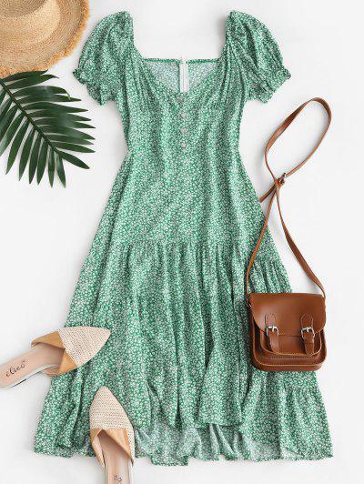 Ditsy Floral Puff Sleeve Flounce Midi Tea Dress - Light Green M