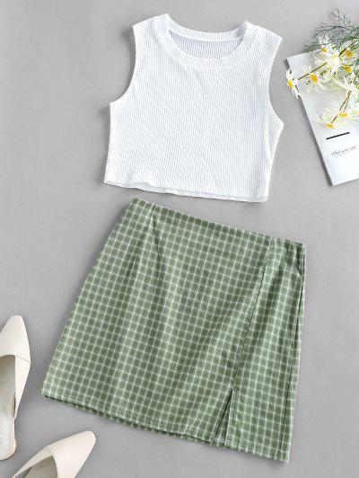 ZAFUL Ribbed Plaid Slit Mini Skirt Set - Light Green M