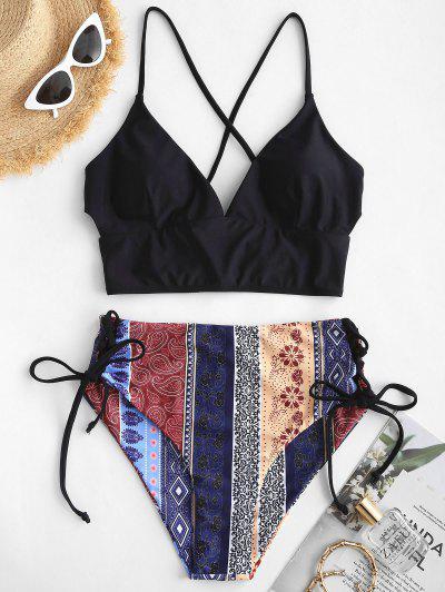 ZAFUL Bohemian Lace Up High Waisted Tankini Swimsuit - Black M