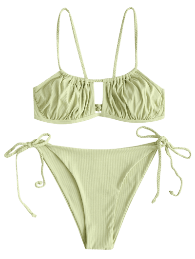 ZAFUL Braided Ribbed Tie Cutout Bikini Swimwear