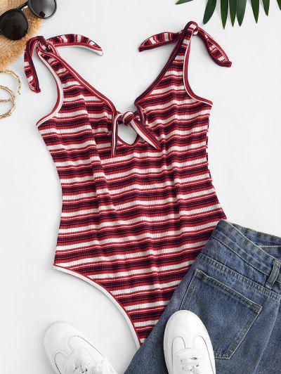 Knotted Tie Shoulder Ribbed Stripes Bodysuit - Red S