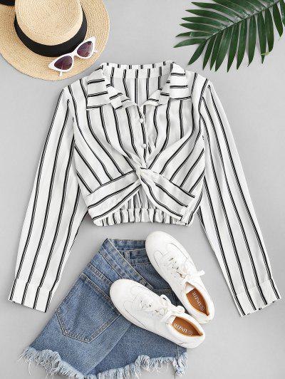 Twist Button Up Stripes Cropped Shirt - White M