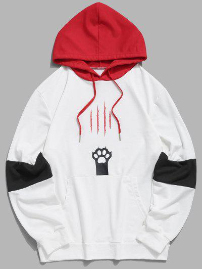 Colorblock Cat Claw Scratch Pouch Pocket Hoodie - White 2xl