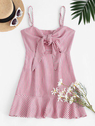 Stripes Tie Front Ruffled Hem Dress - Light Pink M