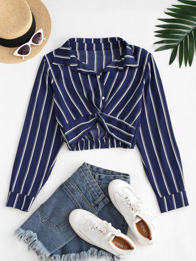 Twist Button Up Stripes Cropped Shirt - Deep Blue S