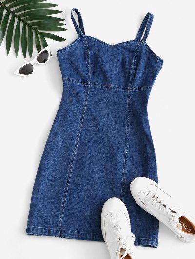 Vestido Al Cuerpo Denim - Azul Claro M