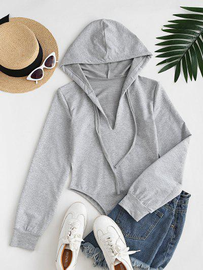 Long Sleeve Drawstring Hoodie Casual Bodysuit - Light Gray L