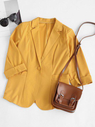 Rolled Cuff Pocket One Button Blazer - Yellow M