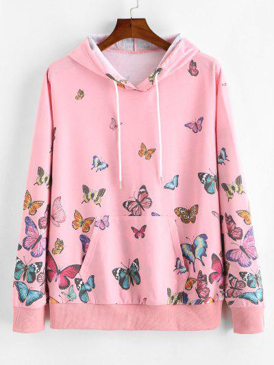 ZAFUL Butterfly Allover Print Drawstring Hoodie - Pink S