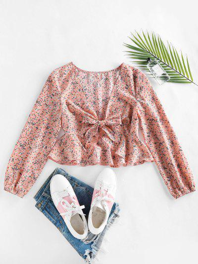 ZAFUL Ditsy Print Peplum Bowknot Plunging Blouse - Light Pink M