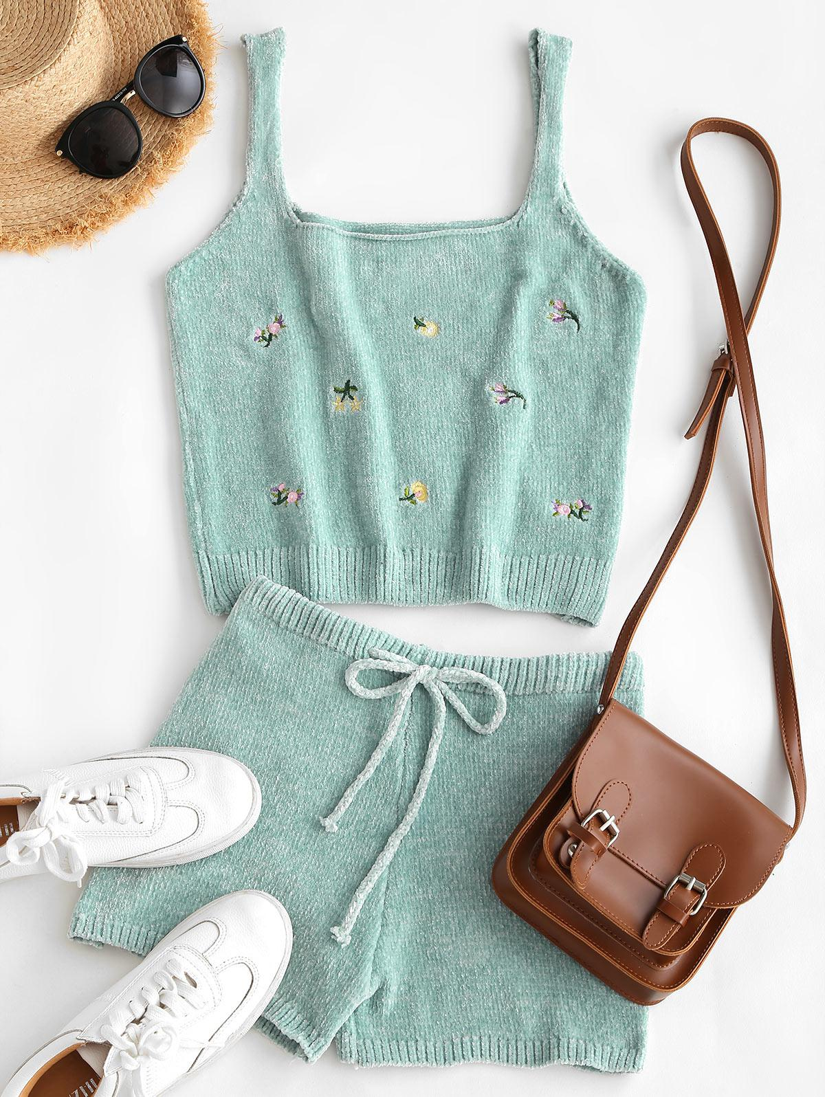 Chenille Embroidered Square Neck Two Piece Shorts Set