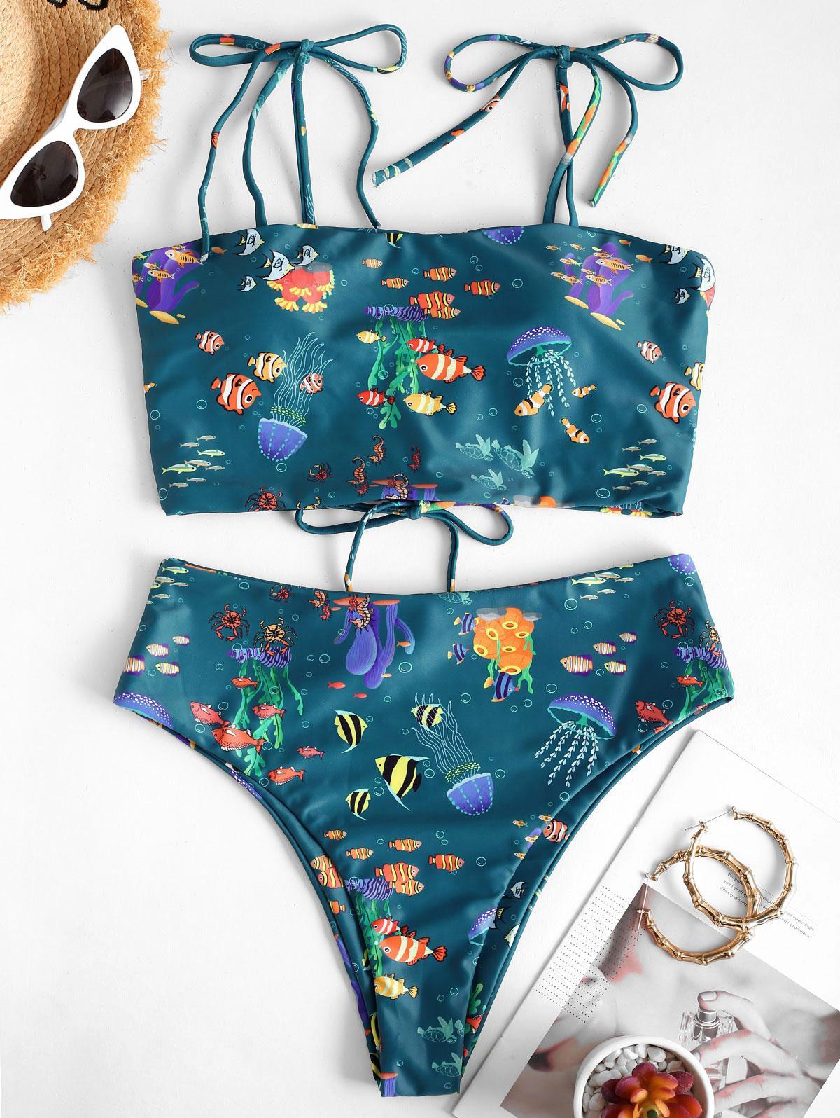zaful Tie Infauna Print Tankini Swimwear