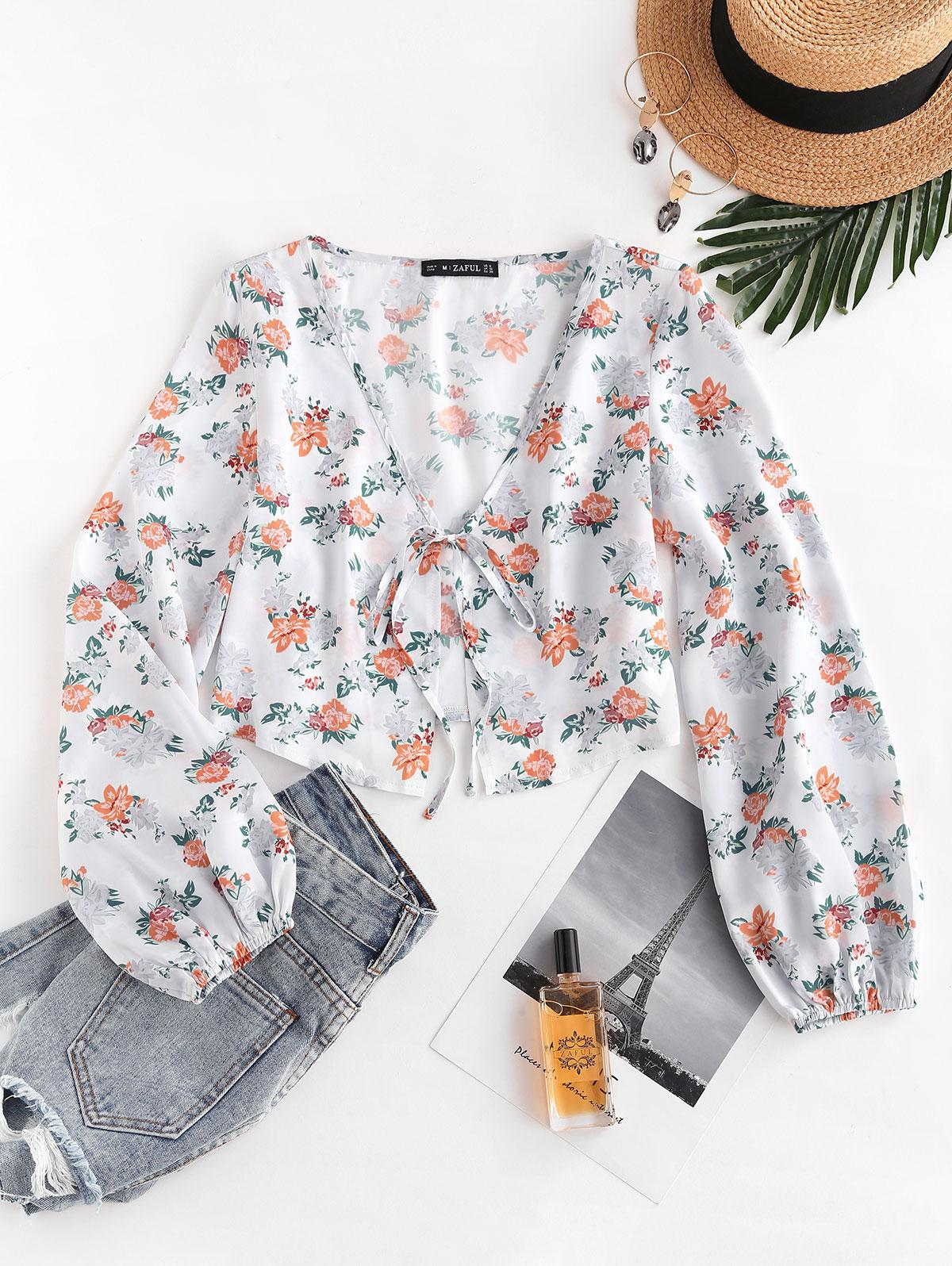 ZAFUL Floral Satin Tie Front Crop Blouse