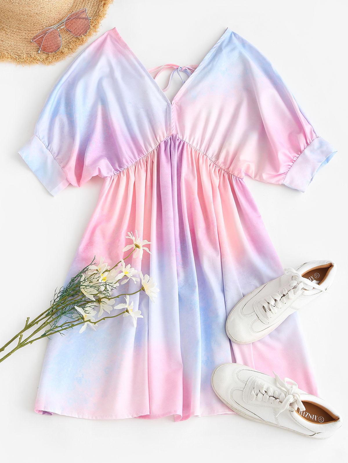 Ombre Tie Dye Dolman Sleeve Backless Dress