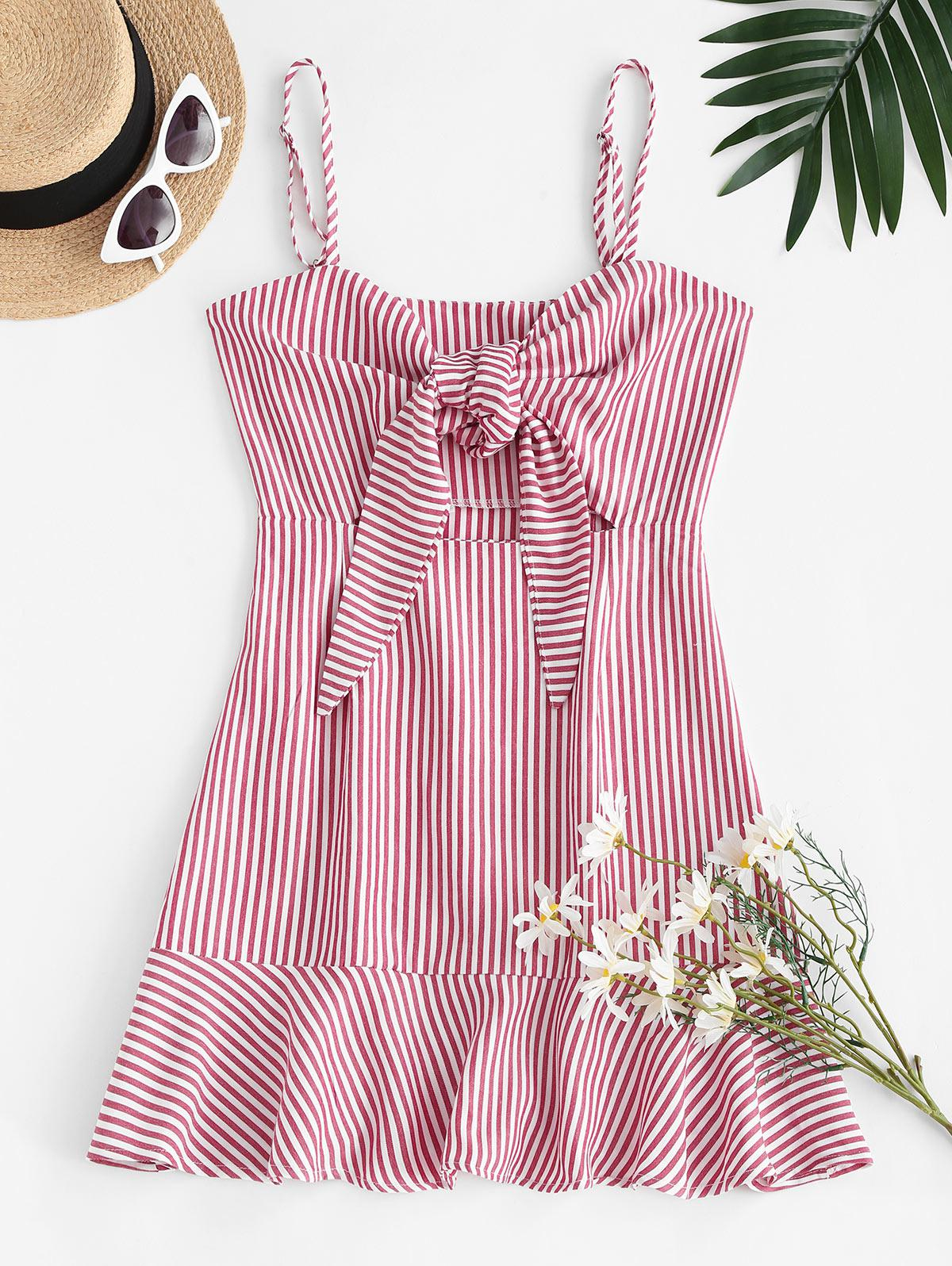 Stripes Tie Front Ruffled Hem Dress