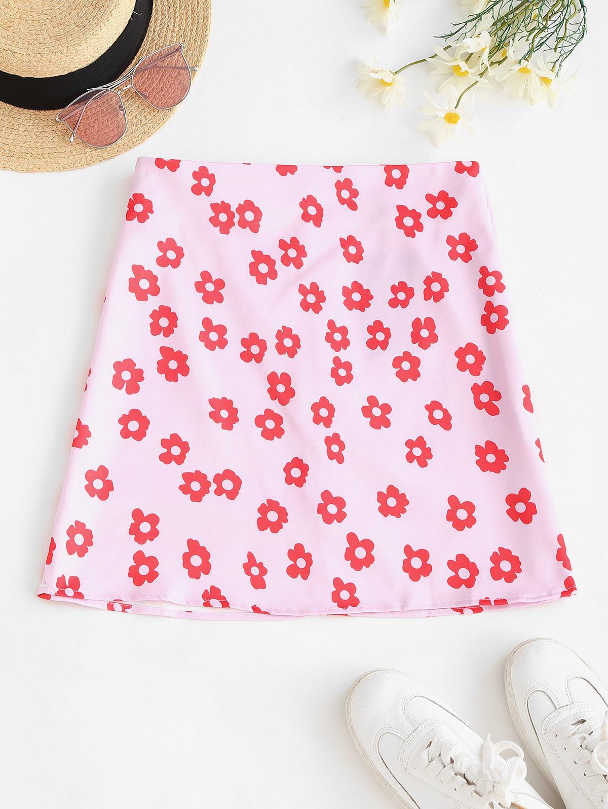 Back Zipper Floral A Line Skirt