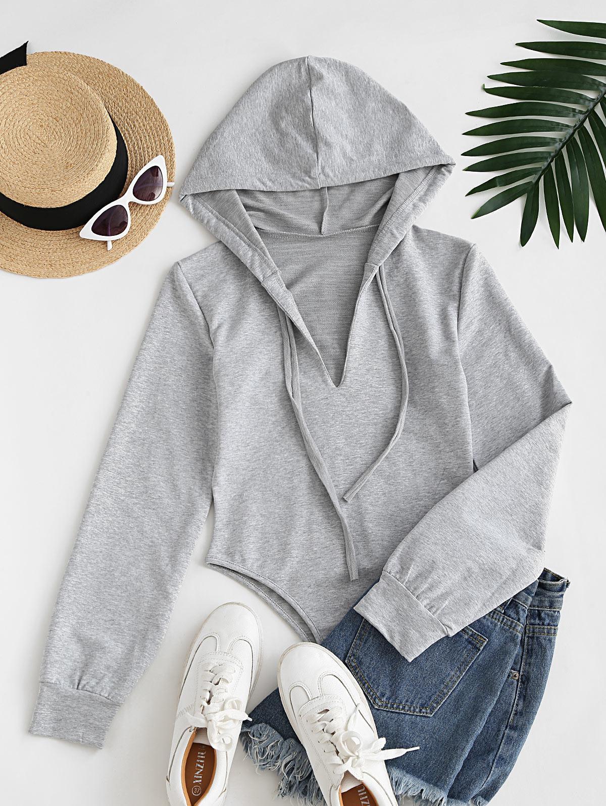 Long Sleeve Drawstring Hoodie Casual Bodysuit