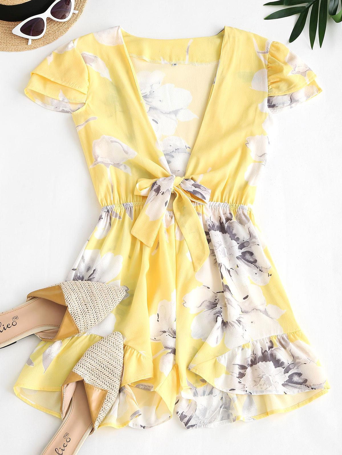 Floral Layered Cap Sleeve Tie Front Romper