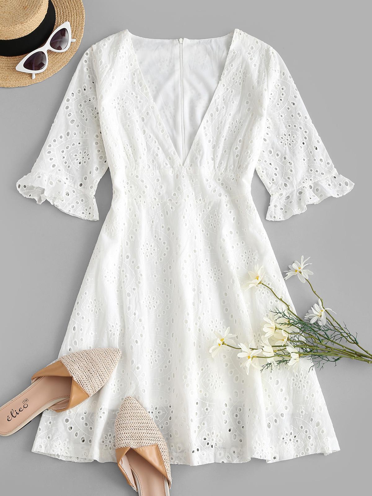 Empire Waist Plunge Eyelet Mini Dress