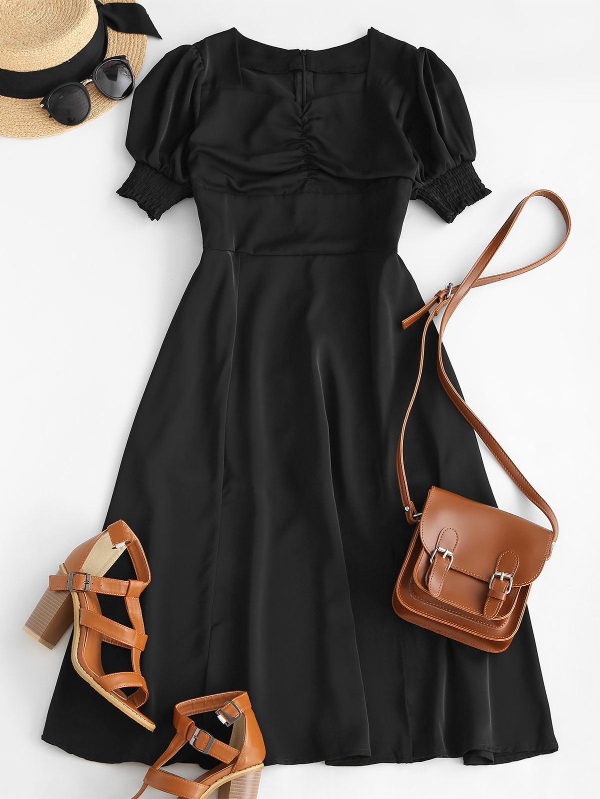 Ruched Puff Sleeve Slit Midi Tea Dress