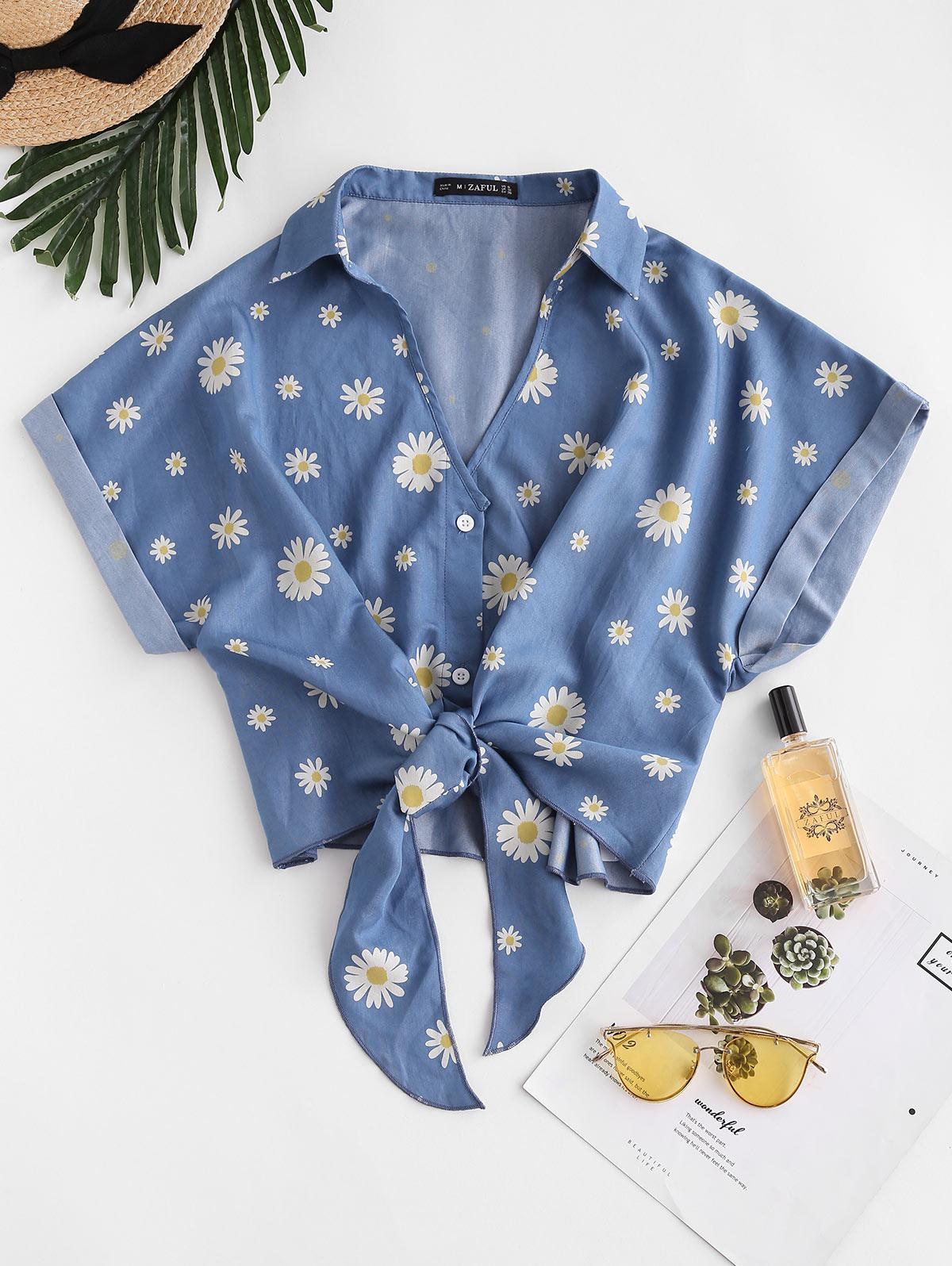 ZAFUL Daisy Floral Chambray Knot Cuff Sleeve Blouse