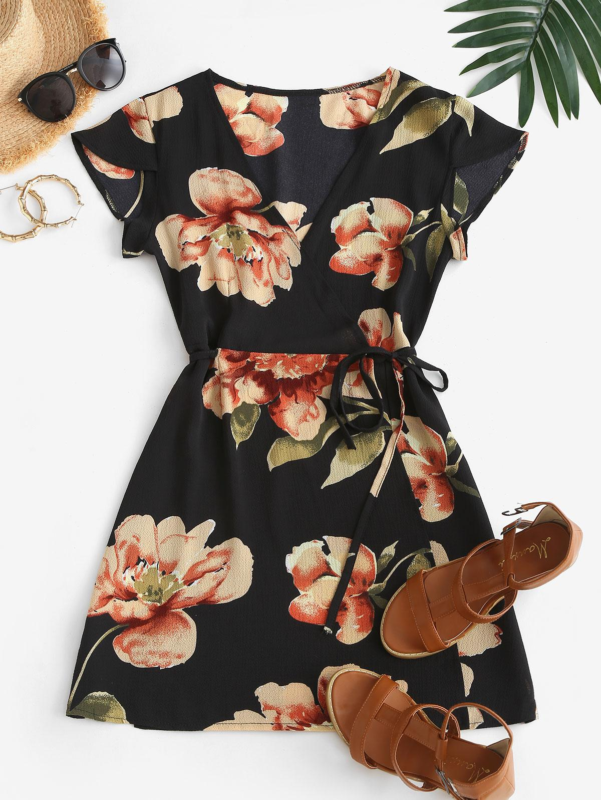 Flutter Sleeve Floral Wrap Mini Dress