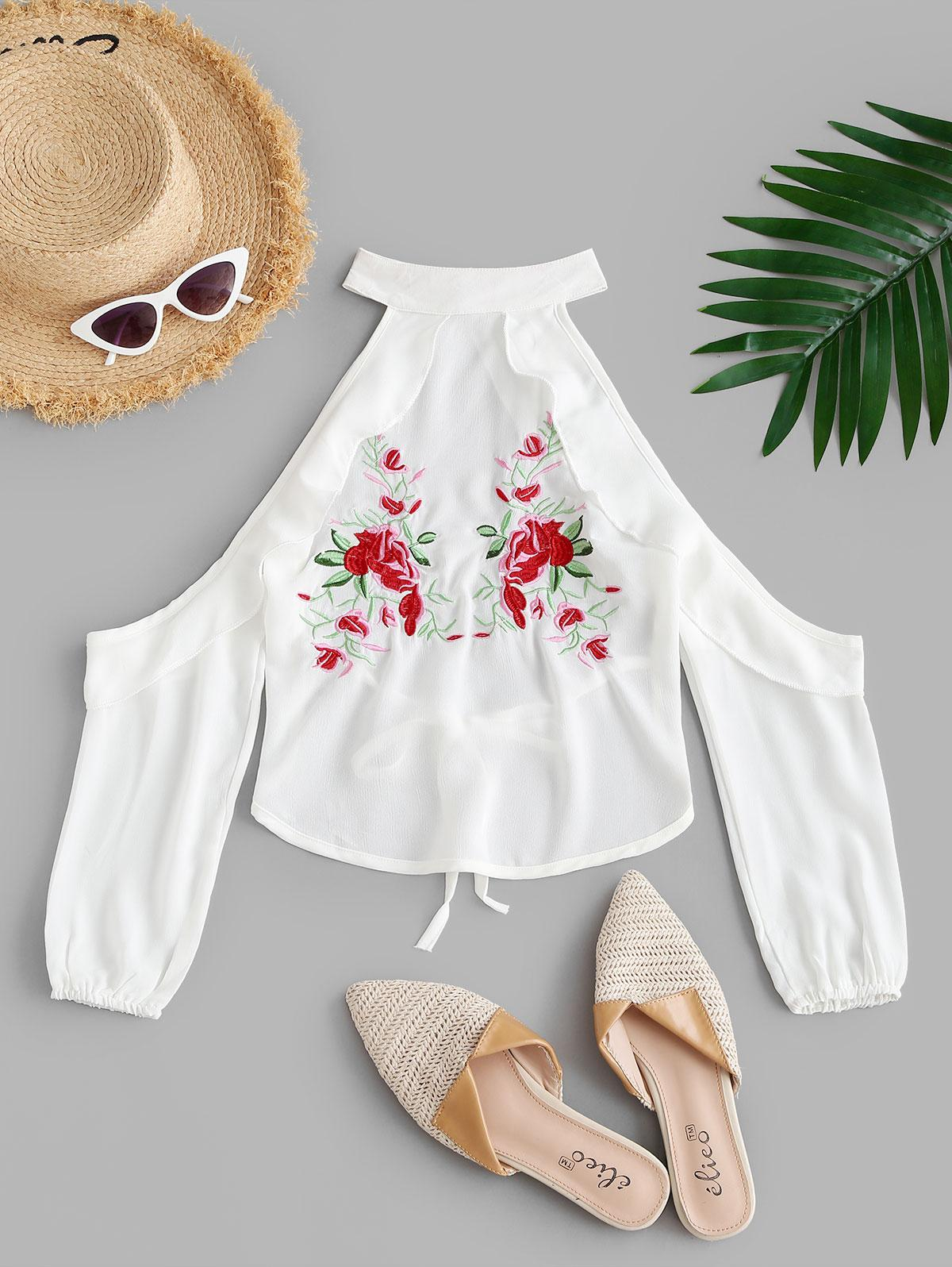 Floral Embroidered Cold Shoulder Backless Blouse