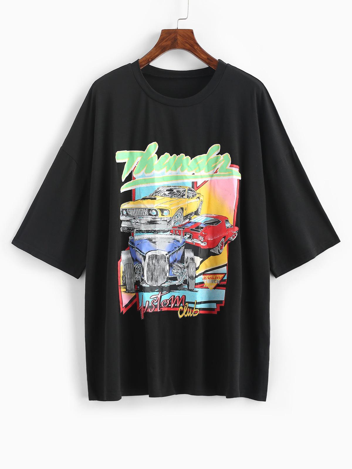 Drop Shoulder Thunder Graphic Car Print T-shirt