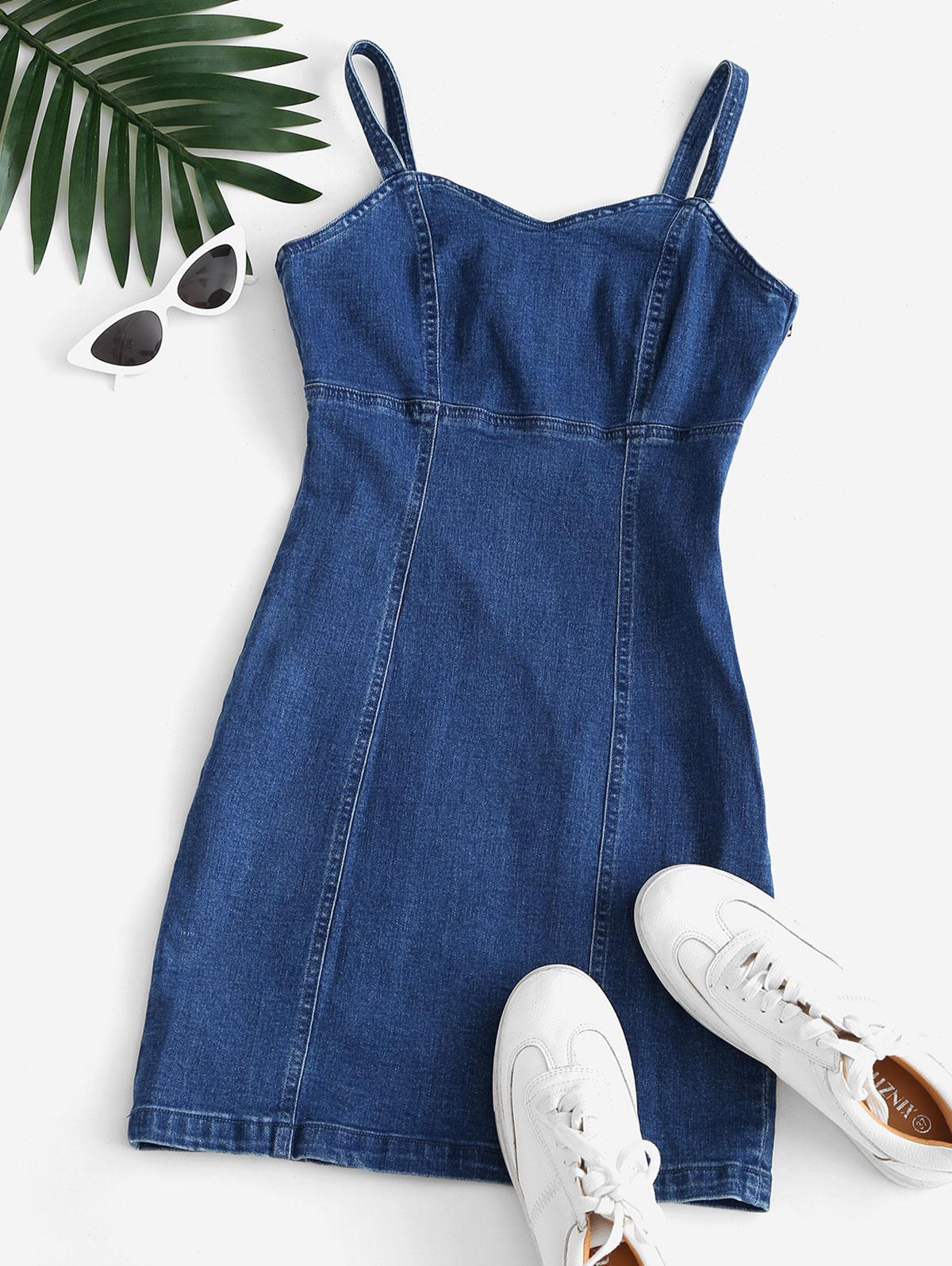 Sweetheart Denim Mini Bodycon Dress