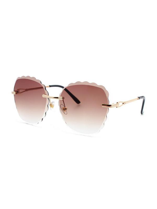 Scalloped Edge Rimless Sunglasses