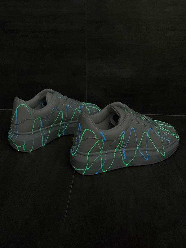 Splatter Design Luminous PU Leather Skate Shoes