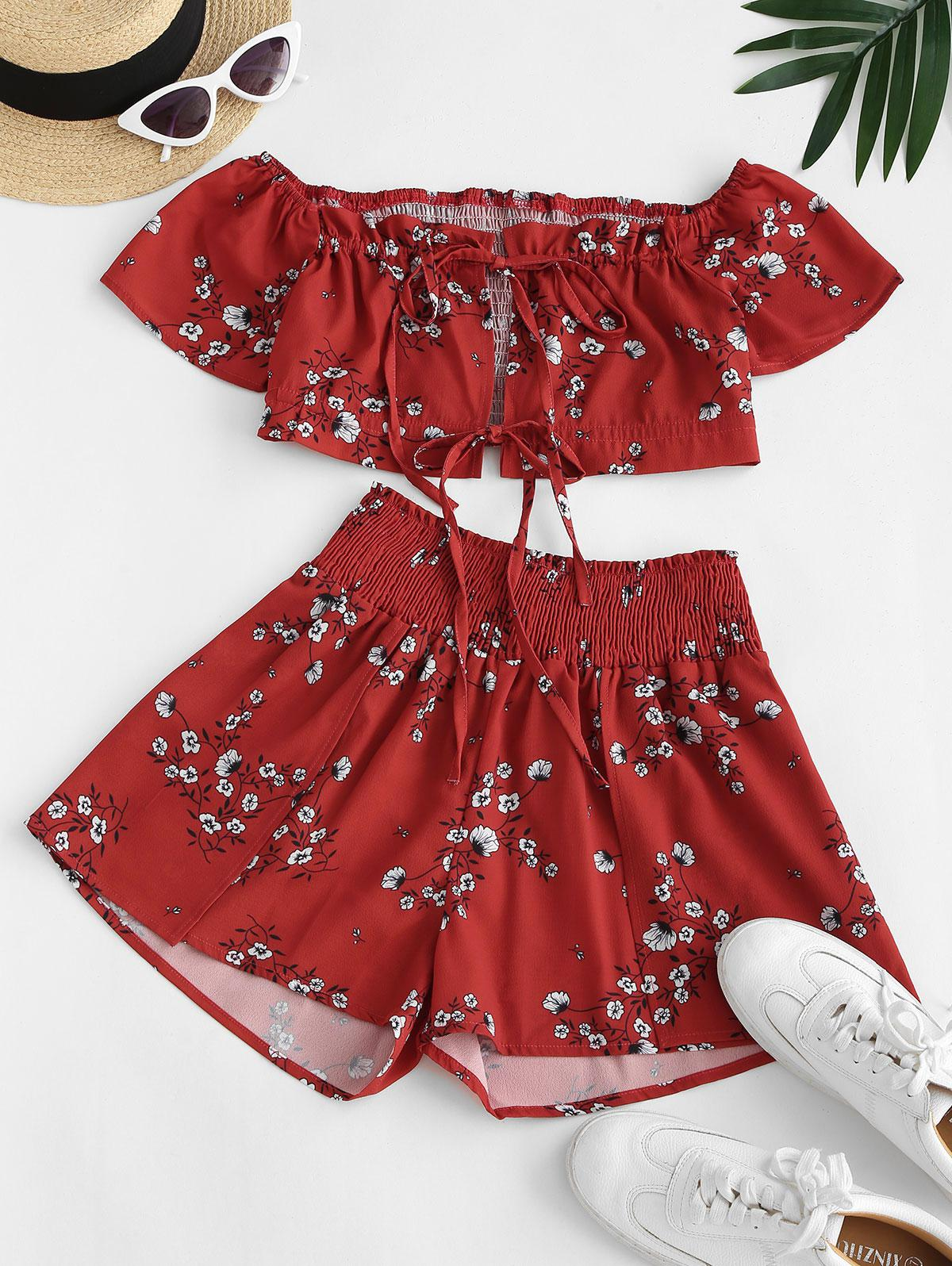Smocked Ties Ditsy Floral Off Shoulder Two Piece Set