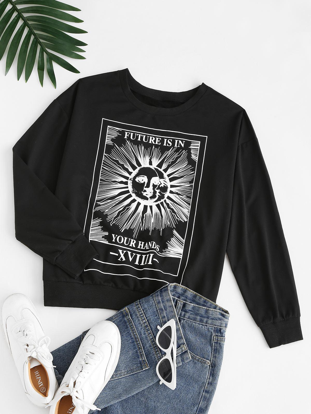 Sun Slogan Print Drop Shoulder Sweatshirt