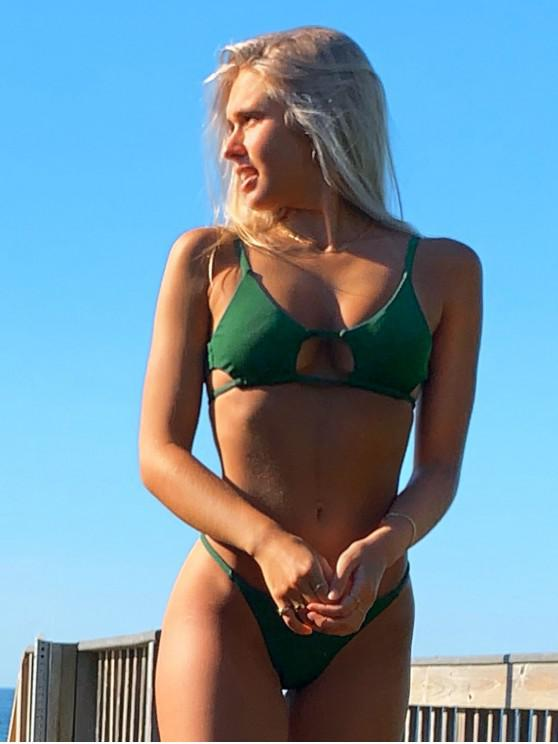fancy Emma MacDonald x ZAFUL Cutout Ribbed Bikini Swimsuit - MEDIUM FOREST GREEN S