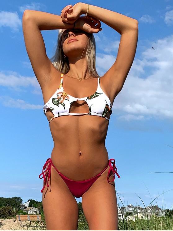 Costume da Bagno Bikini Floreale con Nodo Laterale di ZAFUL - Vino Rosso S