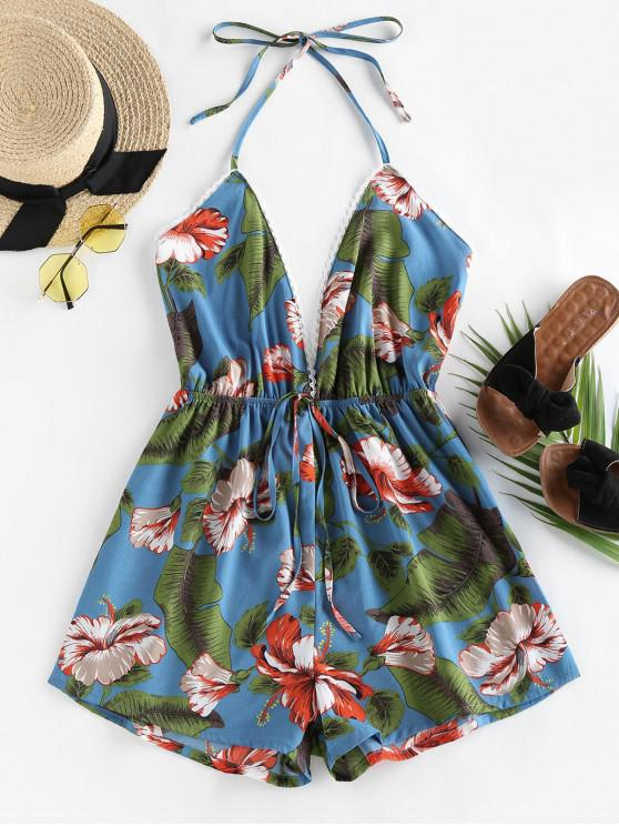 affordable ZAFUL Halter Tropical Print Backless Romper - PEACOCK BLUE XL