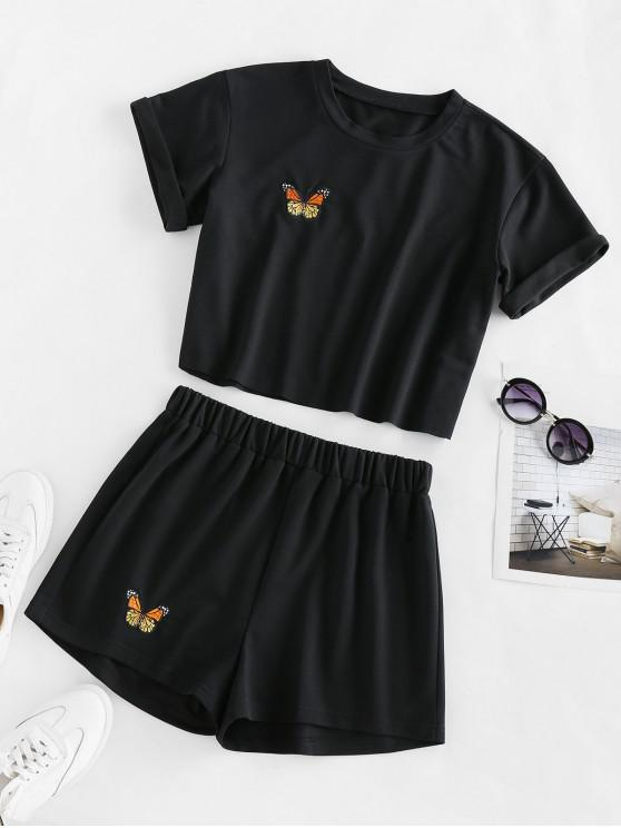 fashion ZAFUL Butterfly Embroidered High Waisted Shorts Set - BLACK S