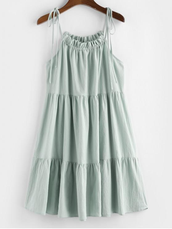 online ZAFUL Tie Strap Frilled Tiered Cami Dress - LIGHT GREEN L