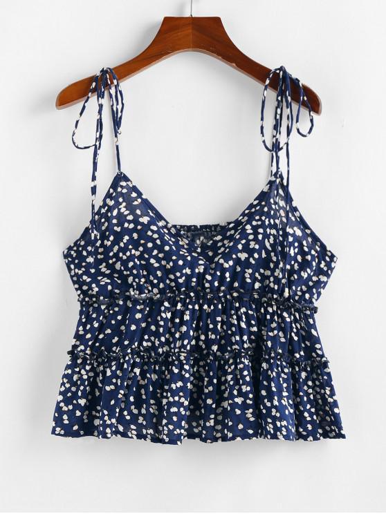 new ZAFUL Ditsy Print Tie Strap Peplum Cami Top - DARK SLATE BLUE M