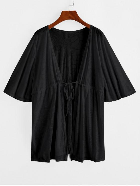 outfit Drawstring Plunge Kimono Beach Cover Up - BLACK ONE SIZE