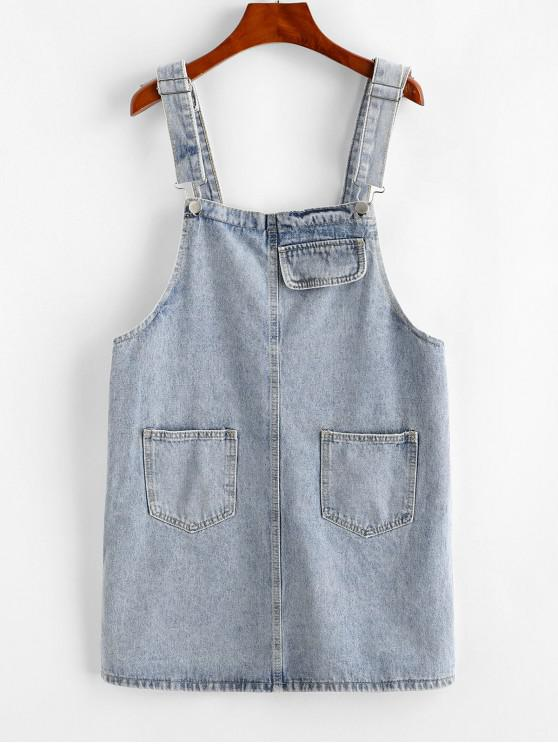 shop Pocket Mini Overall Dress - LIGHT BLUE XL