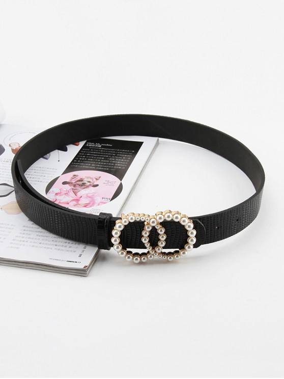 Double Circle Artificial Pearl Buckle Belt - أسود