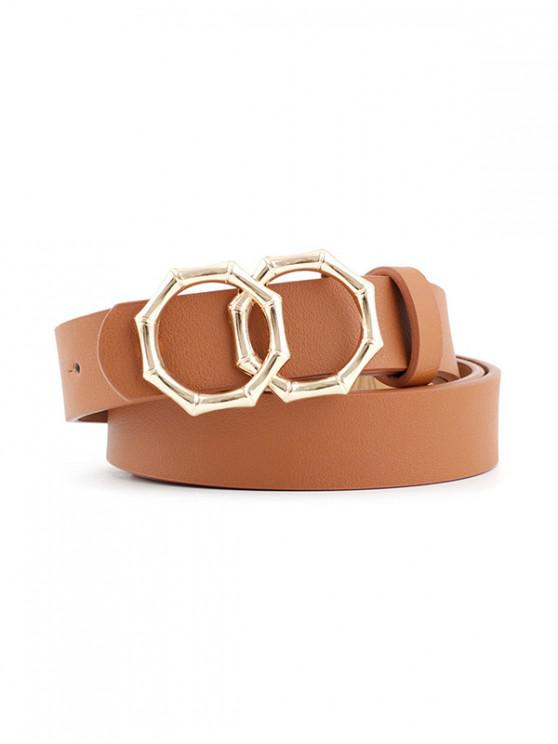 hot Retro Bamboo Shape Double Ring Decorative Belt - LIGHT BROWN