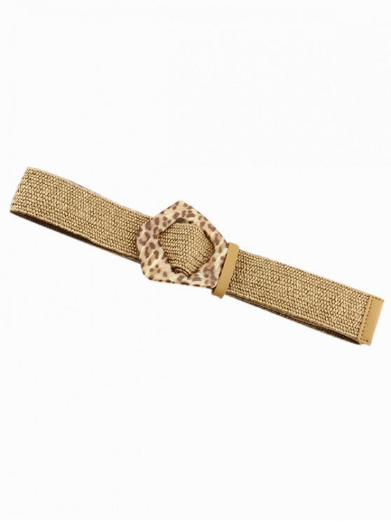 Leopard Buckle Cotton Linen Knit Dress Belt - متعددة-A