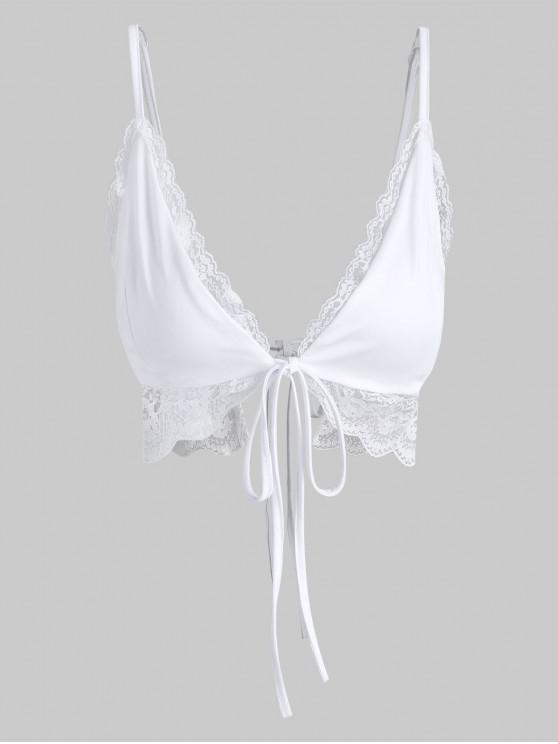 fancy Tie Front Lace Trim Cami Top - WHITE S