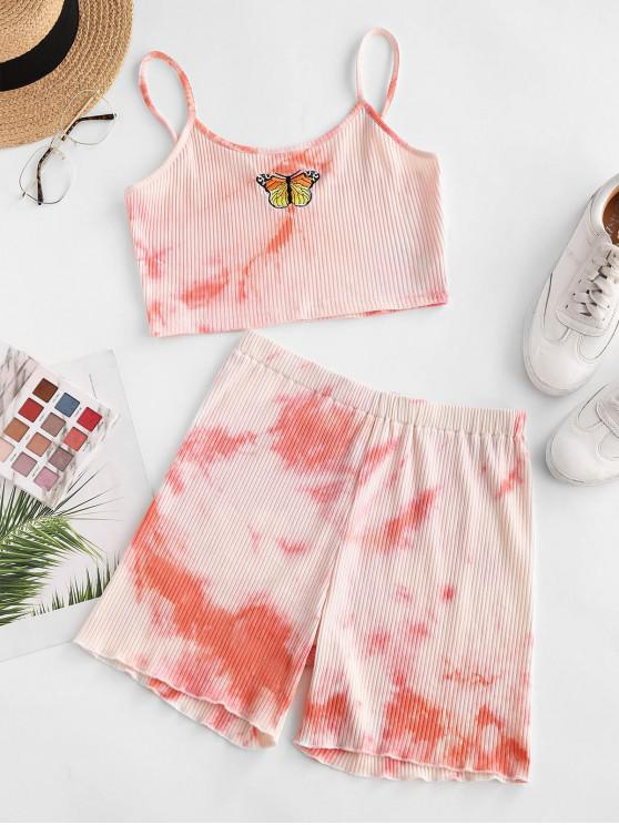 Tie Dye Ribbed Butterfly Embroidered Two Piece Shorts Set - وردي فاتح XL